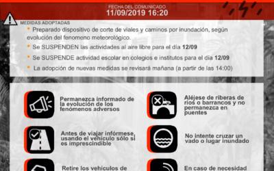 Suspendidas las clases y reuniones de padres y madres, Jueves 12 de septiembre