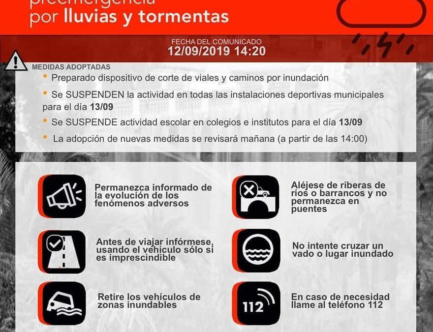 SUSPENDIDAS LAS CLASES Y TODA ACTIVIDAD ESCOLAR PARA MAÑANA VIERNES 13 DE SEPTIEMBRE